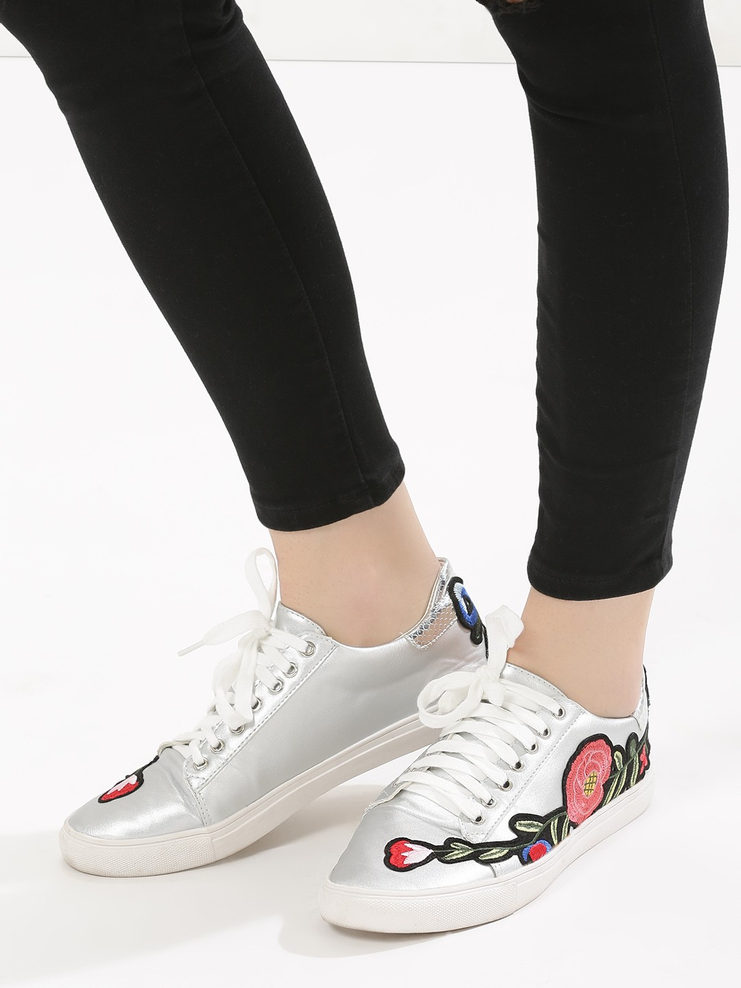 My Foot Couture Silver Floral Embroidery Trainers 1
