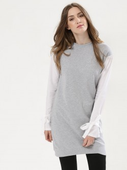 Daisy Street Sweatshirt With Contrast Sleeves And Tie Detail