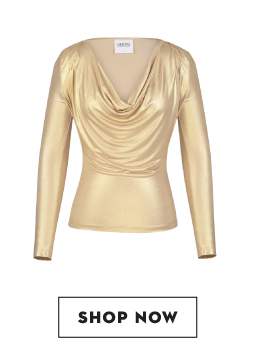 Shop KOOVS Cowl Neck Metallic Top