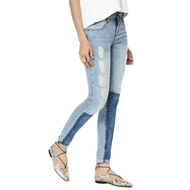 EVAH Patched Distressed Slim Fit Denims