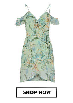 RIDRESS Tropical Cold Shoulder Wrap Dress Rs.1,495