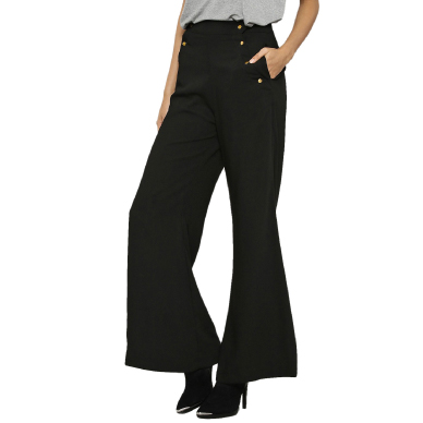 KOOVS Military Buttons Detail Wide Leg Trousers