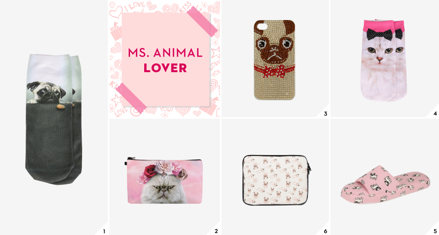 Shop gifts for Ms. Animal Lover
