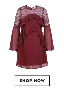 Shop KOOVS Ruffle And Lace Dress