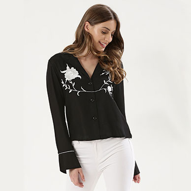 KOOVS Embroidered Pyjama Style Shirt Rs.1,699