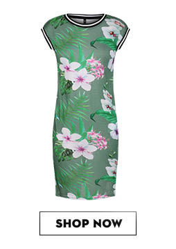EVAH LONDON Floral Striped Mix Dress Rs.1,499