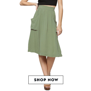 Shop KOOVS olive green midi skirt