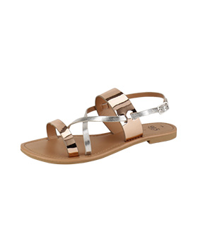 Metallic Cross Over Sandals