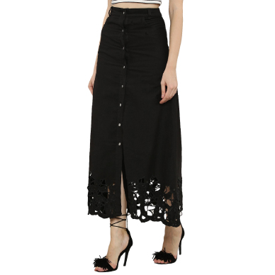 Shop KOOVS button through cut work hem maxi skirt