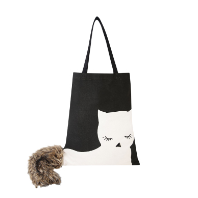 KOOVS Fur Tail Cat Tote Bag