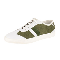 Lace Up Plimsolls with Suede Side Panels