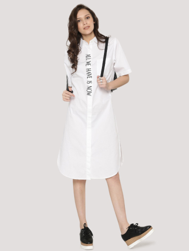 Shop Spring Break Slogan Shirt Dress