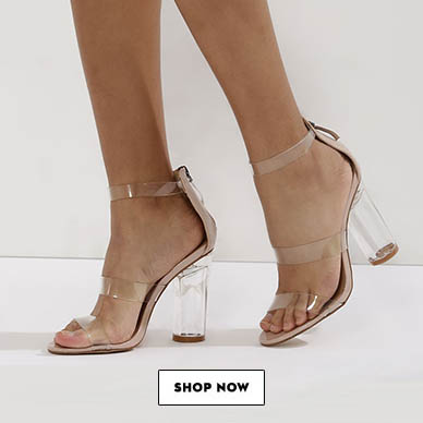 TRUFFLE COLLECTION Multi Clear Strap Perspex Heeled Sandals