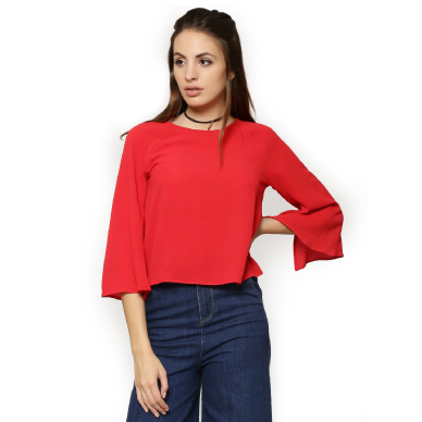 KOOVS Fluted Sleeve Top