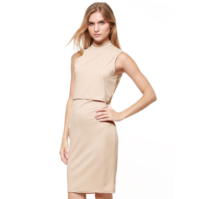 KOOVS Side Cut Out Double Layer Dress