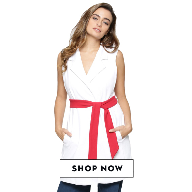 Shop KOOVS contrast sleeveless jacket