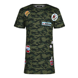 Patch Work Applique Camo T-Shirt