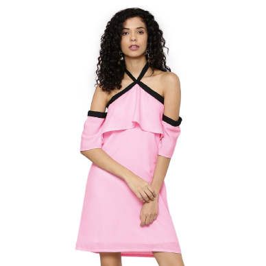 Ridress Pink Halter Bow Tie Dress