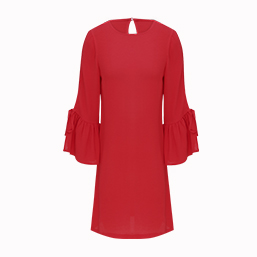 RED FLUTE SLEEVE DRESS