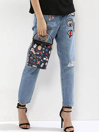 ORIGAMI LILY Quirky Patch Print Sling Bag