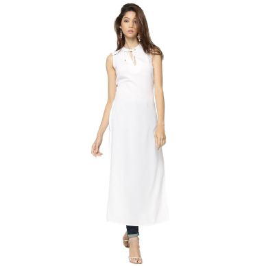 KOOVS Eyelet Draw Cord Neck Maxi Top